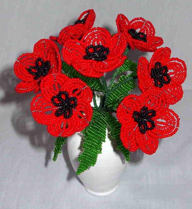 цветы из бисера - ЦВЕТЫ ИЗ БИСЕРА - поздравительные открытки, подарки.